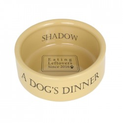 Personalised A Dogs Dinner Medium Brown Dog Bowl