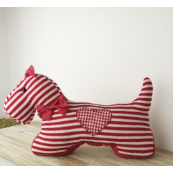 Striped Knitted Westie Doorstop