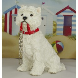 """Walkies"" Large Westie Figurine - West Highland White Terrier Dog"