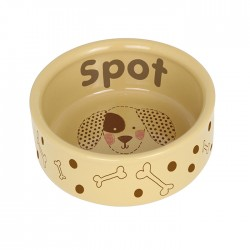 Personalised Dog Stitch Medium Brown Dog Bowl