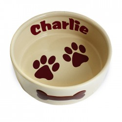 Personalise Large Brown Paws Dog Bowl