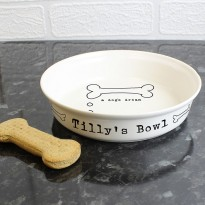 Personalised A Dogs Dream White Dog Bowl