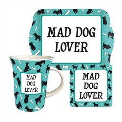 Mad Dog Lover Teatime Mug, Coaster and Tray Gift Set