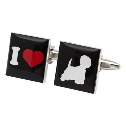 I Love Westies Cufflinks - West Highland White Terrier Cufflinks