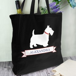 Personalised Westie Black Cotton Bag