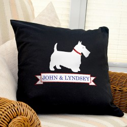 Personalised Westie Dog Black Cushion Cover