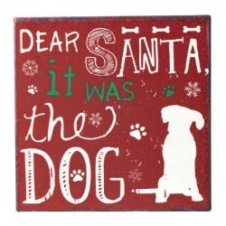 Dear Santa Metal Dog Sign