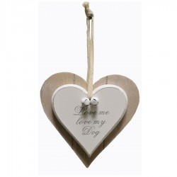 Double Heart Plaque Love Me Love My Dog