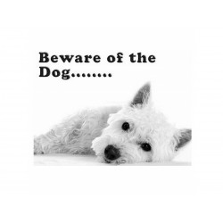 Cute Westie Beware of the Dog Sign