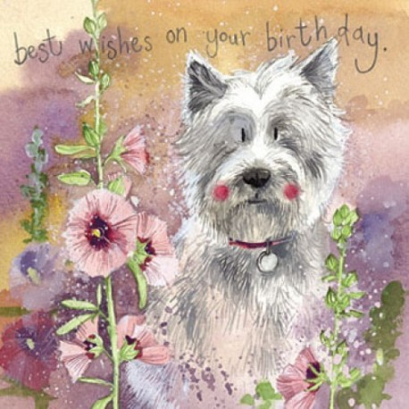 Westie And Hollyhocks Birthday Card By Alex Clark