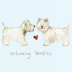Welcoming Westie Greetings Card by Alex Clark