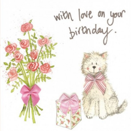 Sparkly Westie Birthday Card By Alex Clark