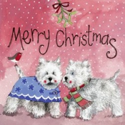 Merry Westie Christmas Cards by Alex Clark