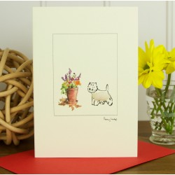 Westie and Flowers Greeting Card by Penny Lindop