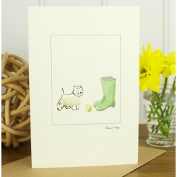 Westie and Wellies Greeting Card by Penny Lindop