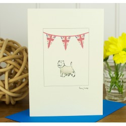 Union Jack Westie Greeting Card by Penny Lindop