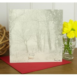Winter Westie in the Woods Greeting Card by Penny Lindop