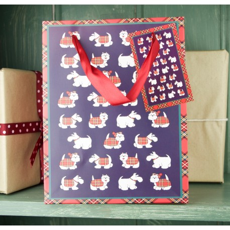 Tartan Terrier Paper Gift Bag - Small