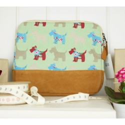 Green Scottie Dog Westie Zipped Tablet Cover