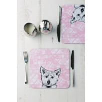 Highland Westie Modern Tartan Tablemats (set of 2)  by Gillian Kyle