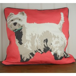 Red Westie Cushion By Betty Boyns