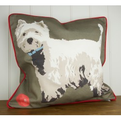 Westie and Ball Cushion By Betty Boyns