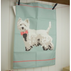 Bow Tie Westie Tea Towel by Betty Boyns