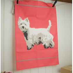 Red Westie Tea Towel by Betty Boyns - West Highland Terrier