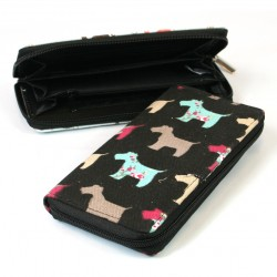 Black Westie Cotton Long Purse