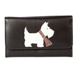 Black Westie Flap Over Leather Purse