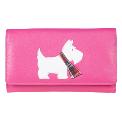 Pink Westie Flap Over Leather Purse