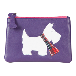 Purple Westie Leather Coin Purse