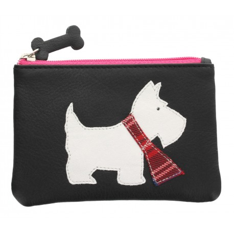 Black Westie Leather Coin Purse