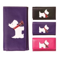 Purple Westie Flap Over Leather Purse