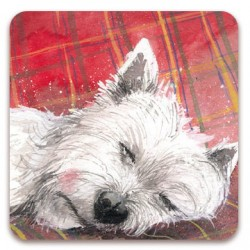 Westie Tartan Rug Fridge Magnet by Alex Clark