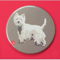 Westie and Ball Fridge Magnet by Betty Boyns