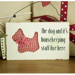 Dog and It's Houskeeping Staff - Red Check Westie Plaque