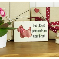 Dogs Leave Pawprints on Your Heart - Red Check Westie Plaque
