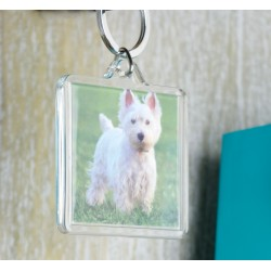 Square Keyring - Cute Westie