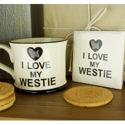 I Love My Westie Mug and Coaster Set