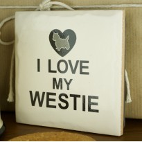 I Love My Westie Tile Coaster - Moorland Pottery