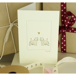 Westies in Love Greeting Card by Penny Lindop