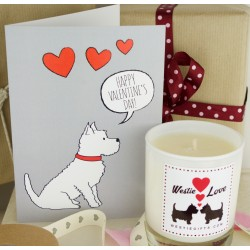 Westie Vantines Gift Set -Valentines Card and Candle