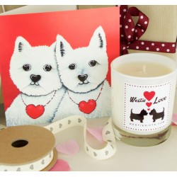 Card and Candle Valentines Westie Gift Set