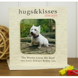 Hugs and Kisses Personalised Westie Coaster Card