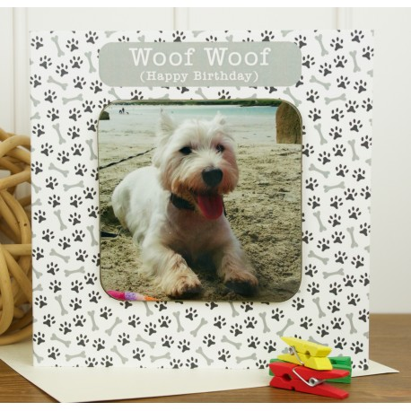 Woof Woof Personalised Westie Birthday Coaster Card