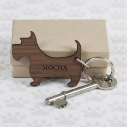 Personalised Walnut Wood Westie Shaped Keyring