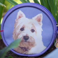 Purple Coin Purse with Westie Print - West Highland White Terrier Dog Catalog   Products