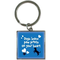 Dogs Leave Pawprints On Your Heart Keyring