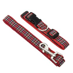 Red Tartan Dog Collar and Lead